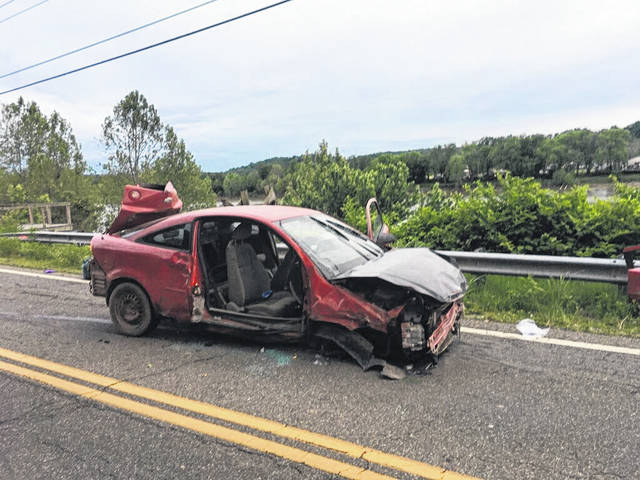 A police pursuit on Wednesday evening resulted in extensive damage to a Meigs County Sheriff's cruiser, as well as injuries to individuals involved. (Dave Harris | Courtesy photo)