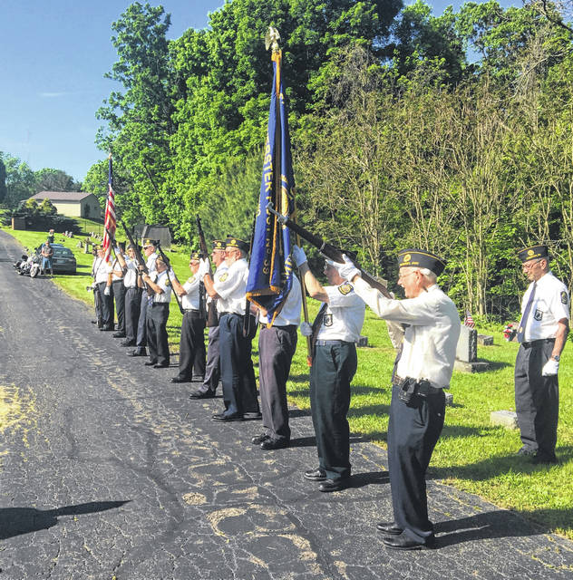 American Legion Post 39 is pictured during the ceremony at Sacred Heart Cemetery.
