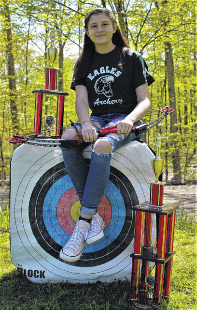 The Eastern Eagles Archery Club member Breanna Nelson recently competed in the virtual Ohio NASP Bullseye State Championship Tournament. Nelson earned 1st Place in the High School Female Division as well as Overall Female State Champion. Nelson has been a member of Eastern Eagles Archery and has been competing in NASP Tournaments since fourth grade. Her current sophomore year season was cut short due to the current pandemic but not before she was able to bring the Championship home. She looks forward to competing in many more archery tournaments over the next two years to further her NASP career. Nelson is pictured with her trophies and her championship bow which she received for her accomplishments.