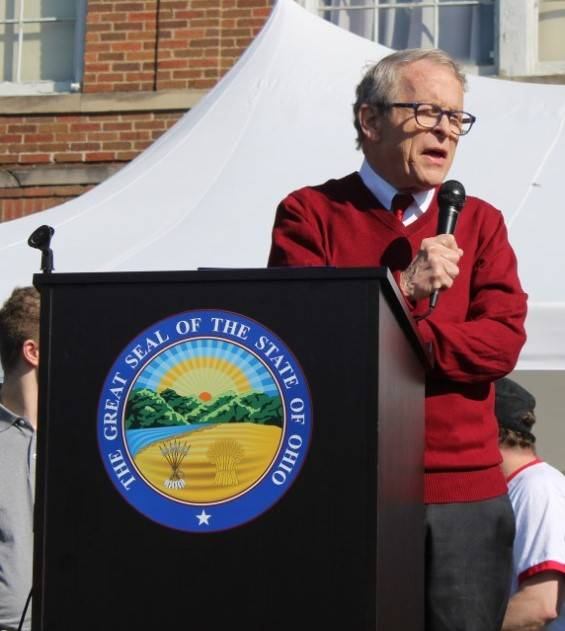 Governor Mike DeWine speaks in front of Wolfe Mountain Entertainment during Meigs County's Bicentennial celebration in 2019.