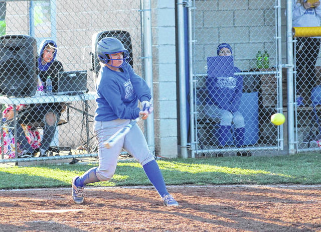 Gallia Academy's Bailey Meadows swings at a pitch during an April 15, 2019, contest against Fairland in Centenary, Ohio.