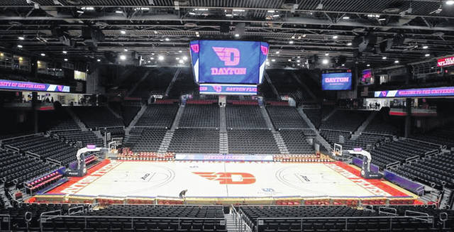 A sideline view of the inside of the University of Dayton Arena, home of the Flyers. UD Arena will be the home of the OHSAA girls basketball tournament for the next three years.