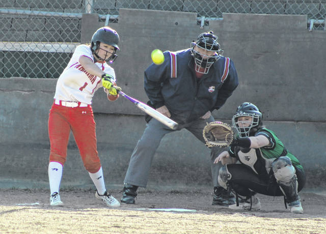 Wahama senior Hannah Rose hammers out a home run during an April 2, 2019, softball contest against Eastern at Don Jackson Field in Tuppers Plains, Ohio.