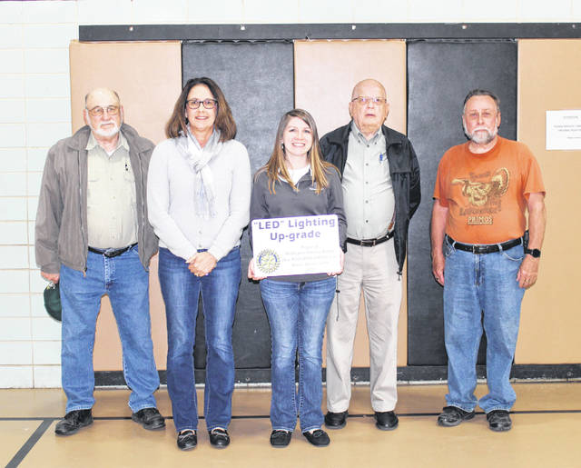 Representatives from the Mulberry Community Center and Middleport-Pomeroy Rotary Club are pictured in the gymnasium where the lighting upgrade was completed. Pictured (from left) are Larry Ebersbach, Tina Rees, Annisha Ball, Bob Beegle and Gordon Bud Randolph.