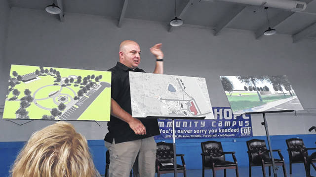 Joe Sizemore unveils plans for the Memorial Park at this weekend's Field of Hope events. (Sharla Moody | Courtesy)
