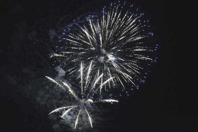 "Though the Gallipolis River Recreation Festival (traditionally held July 3-4) has been postponed this year due to the COVID-19 outbreak, organizers announced Friday, they are looking at Sept. 12 as a tentative date to host fireworks, entertainment and offer safe food options and games. For a look at events scheduled during the upcoming holiday weekend, see the ""Along the River"" feature page in this edition or visit www.mydailysentinel.com or www.mydailytribune.com for more information. Pictured is the fireworks finale at last year's ""River Rec."" (OVP File Photo)"