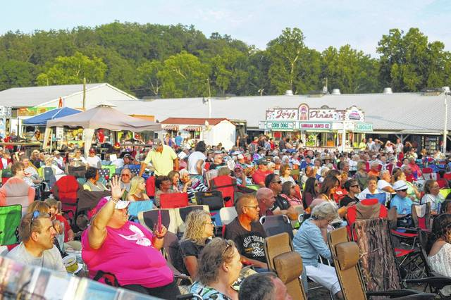 A crowd gathers to take in entertainment at a past Gallia County Jr. Fair. Though the fair will look very different this year due to the COVID-19 pandemic, livestock shows and a sale, some track events and the Gallia County Fair Queen Contest are all planned for fair week. (OVP File Photo)
