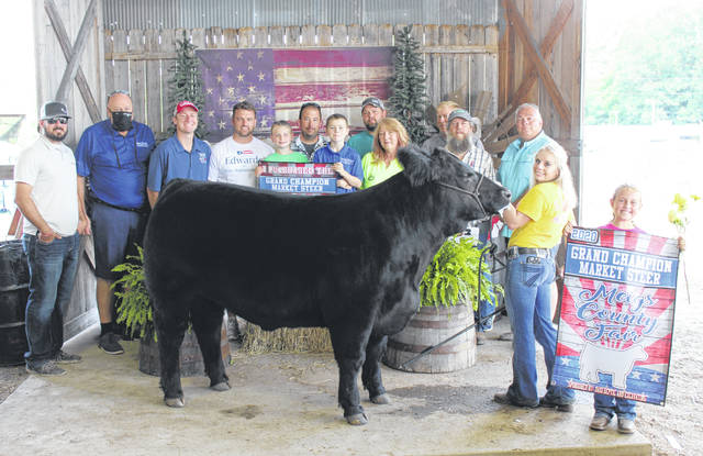 Jessica Parker's Grand Champion Beef Steer was purchased for $9,000 by Hoon Inc., Certified Mechanical, RC Construction and Sons, Carr Auto Glass, Shelley Material, Parker Corporation, White Schwarzel Funeral Home, State Rep. Jay Edwards, Judge Kristy Wilkin, and Mark Porter Ford.