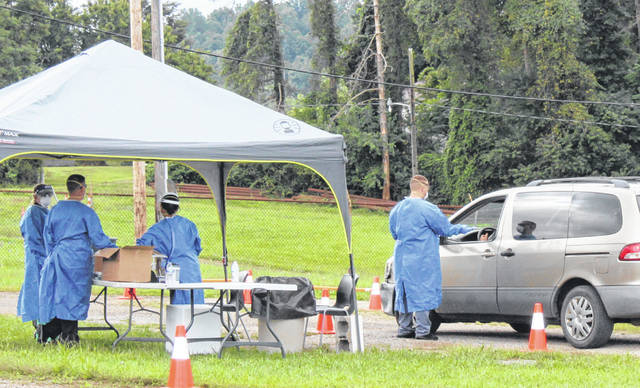 Ohio National Guard members conducted this pop-up testing on Saturday at the Meigs County Fairgrounds.