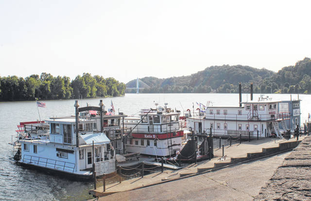 Boats line the Pomeroy levee in advance of this weekend's Pomeroy Sternwheel Regatta.