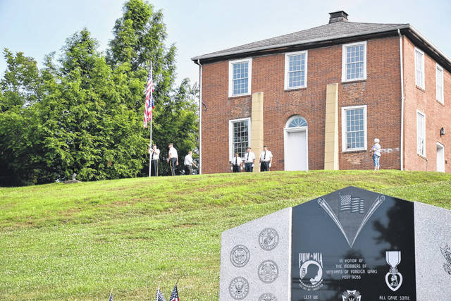 Members of Meigs County American Legion Posts took part in the official opening of the 2019 Meigs Heritage Festival with the flag raising ceremony.