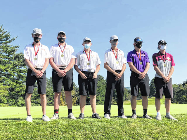 Pictured are members of the 2020 All-TVC Hocking first team golf squad following Monday's TVC Hocking Tournament Championship at Athens Country Club in Athens, Ohio. Standing from left are Matt Deems (BHS), Jacob Ferrier (BHS), Connor Copeland (BHS), Jacob Smeeks (BHS), Ryan Laudermilt (SHS) and Mitchell Roush (FHHS).