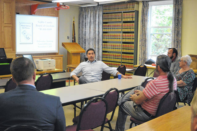 Ohio Secretary of State Frank LaRose discusses the business of Ohio boards of election with Gallia officials last fall. (OVP File Photo)