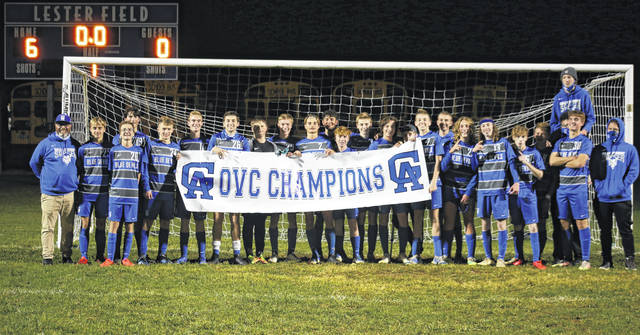 Members of the Gallia Academy boys soccer team pose for a picture after Tuesday's 6-0 victory over Rock Hill, capping off the Blue Devils' second straight unbeaten league season.