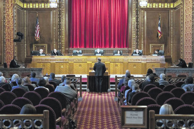 Justices are pictured on the Ohio Supreme Court bench.