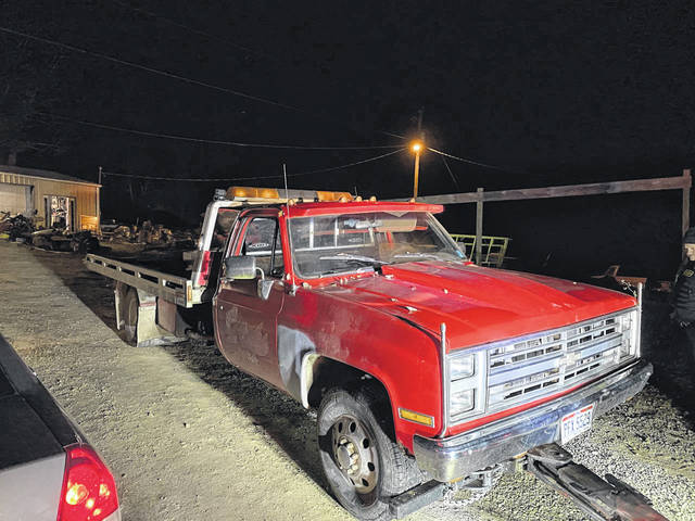 A tow truck was recovered on Sunday near Langsville.