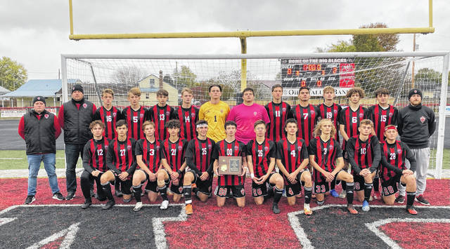 Members of the Point Pleasant varsity boys soccer team pose for a picture after winning the Class AA-A Region IV, Section 1 championship on Saturday with a 2-0 victory over Sissonville at OVB Field in Point Pleasant, W.Va.