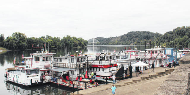 Sternwheelers lined the levee in Pomeroy during the annual Sternwheel Regatta.