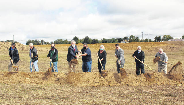 Members of the Meigs County Community Improvement Corporation, were joined by Eugene Facemyer (an original supporter of the industrial park), State Rep. Jay Edwards, and representative from contractor Hoon Inc. for a ceremonial groundbreaking on Friday.