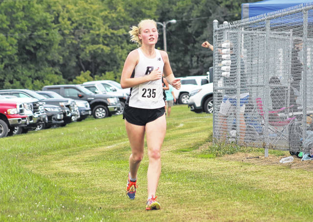 River Valley junior Kate Nutter hits full stride during the varsity girls race at the 2020 Federal Hocking Cross Country Invitational held on Sept. 23 in Stewart, Ohio.