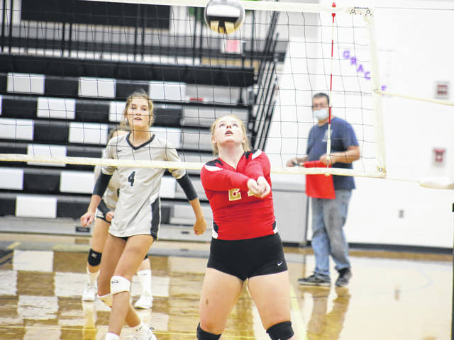 South Gallia senior Emma Shamblin passes the ball in front of River Valley senior Mikenzi Pope (4), during a non-conference match on Aug. 31 in Bidwell, Ohio.