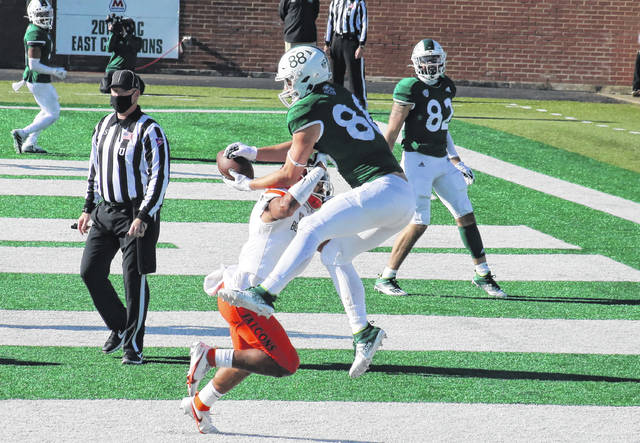 Ohio redshirt senior Ryan Luehrman (88) makes his second touchdown grab of the day, during the Bobcats' 52-10 victory on Saturday in Athens, Ohio.
