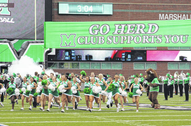 Marshall University takes to the field during a previous games.