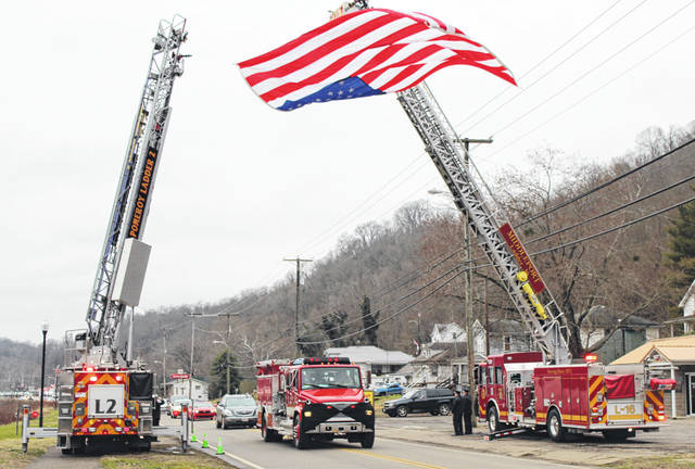 Firefighters, friends and family gathered on Monday to remember Chester Volunteer Fire Department Chief David Edwards who passed away last week following a battle with cancer. Edwards served as Chief of the department for the past several years, devoting more than 35 years to the community as a firefighter. Edwards also worked for the Meigs County ODOT garage, which paid tribute to their coworker with his truck placed along the procession route in Chester.