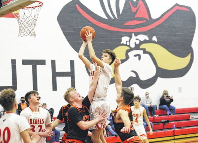 South Gallia senior Jaxxin Mabe shoots a two-pointer, during the second half of the Rebels' 58-53 overtime loss on Saturday in Mercerville, Ohio.
