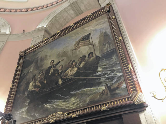 """Pictured is the painting """"Perry's Victory"""" inside the rotunda of the Ohio Statehouse which, along with some other state buildings in downtown Columbus, will be temporarily closed through inauguration day due to reported possible threats. (Beth Sergent 