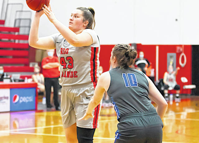 Rio Grande's Avery Harper puts up a shot in the first half of Wednesday afternoon's game against Alice Lloyd College at the Newt Oliver Arena. Harper had a game-high 23 points in the RedStorm's 108-90 victory over the Eagles.