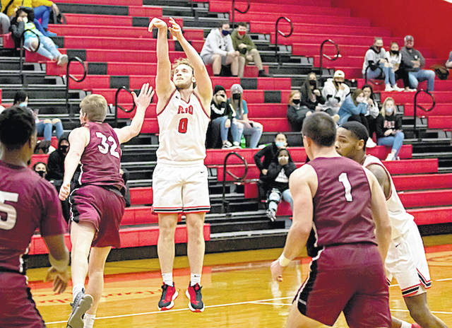 Rio Grande's Miki Tadic watches the flight of one of his seven three-point goals in Tuesday night's 83-61 win over the University of Northwestern Ohio at the Newt Oliver Arena. Tadic had a game-high 23 points in the victory.