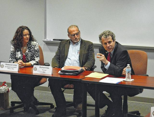 Pictured far right is U.S. Senator Sherrod Brown (D-Ohio) on a previous visit to the University of Rio Grande (prior to the pandemic) for a roundtable discussion about jobs in southeast Ohio and the act of telecommuting. (OVP File Photo)
