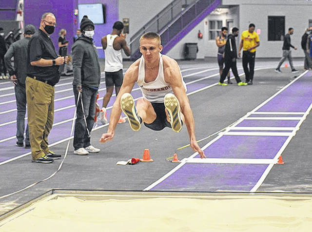 Rio Grande freshman Spencer Harris had a pair of first-place finishes and set a new school record in the indoor long jump at Saturday's OCU Trailblazer Invitational in Logan, Ohio.
