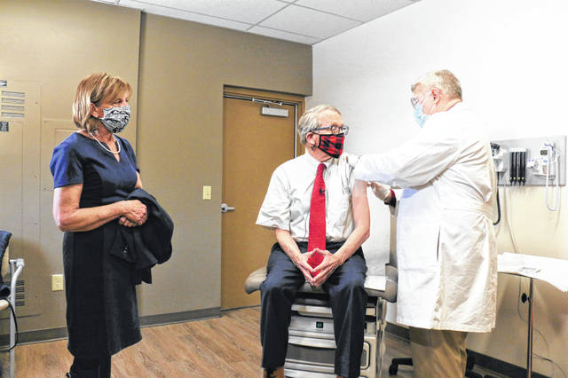 Ohio Governor Mike DeWine and First Lady Fran DeWine received their COVID-19 vaccinations from Dr. Kevin Sharrett at Kettering Health Network's Jamestown office in Greene County.