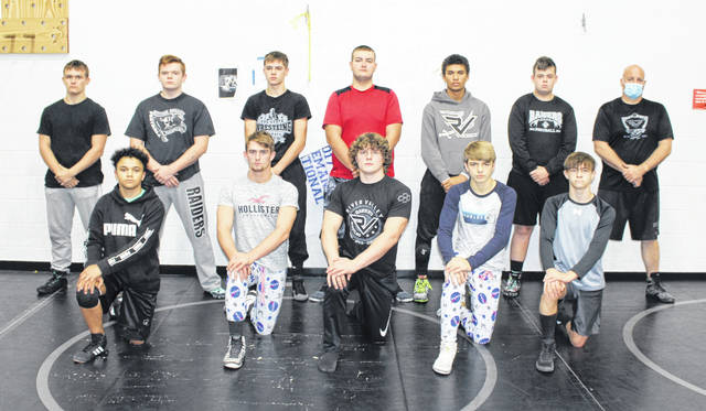 Pictured are members of the 2020-21 River Valley varsity wrestling team. Kneeling in front, from left, are Anthony Petty, Nathan Cadle, Will Hash, Andrew Huck and Hayden Weaver. Standing in back are Aiden Greene, Brice Petitt, Justin Stump, Logan Hancock, Nathan Brown, Riley Morgan and RVHS head coach Matthew Huck.