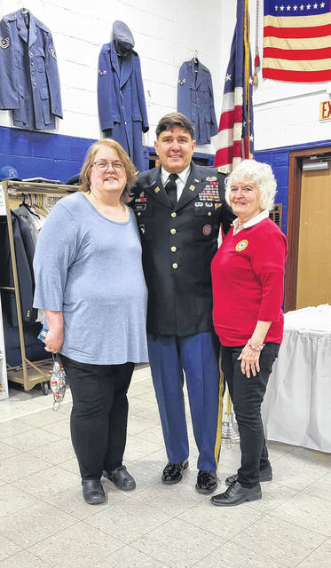 Pictured are Elizabeth Lawrence, Lt. Colonel Jonathan Bissell and JoAnne Newsome, president of the Ladies Auxiliary for Drew Webster American Legion Post #39.