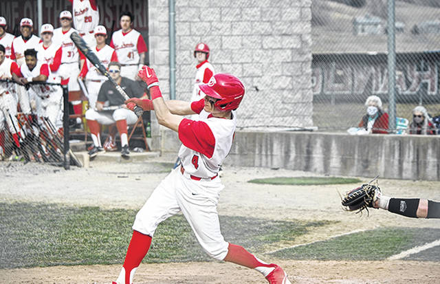 Rio Grande's Trey Carter connects for a game-winning single in the bottom of the eighth inning of the RedStorm's 3-2 game one win over Campbellsville University, Tuesday afternoon, at Bob Evans Field. The Tigers salvaged a split of the twinbill with a 16-6 win in game two.