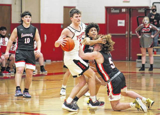 PPHS senior Kyelar Morrow steals the ball and gets fouled, during the final minute of the Big Blacks' 68-65 victory on Monday in Point Pleasant, W.Va.