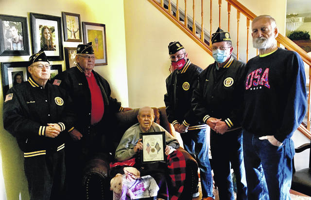 Legion members in attendance for this presentation included(left to right) Dan Arnold, Ed Durst, Paul Kloes, Commander John Hood, Wayne Thomas and Ray Kloes.