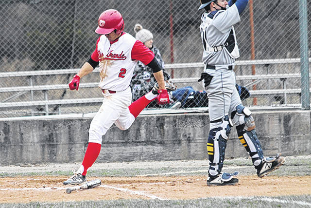 Rio Grande's Kent Reeser crosses the plate to score a run in Friday's game two win over Siena Heights University at Bob Evans Field. The RedStorm swept the doubleheader from the Saints, 7-3 and 6-5.
