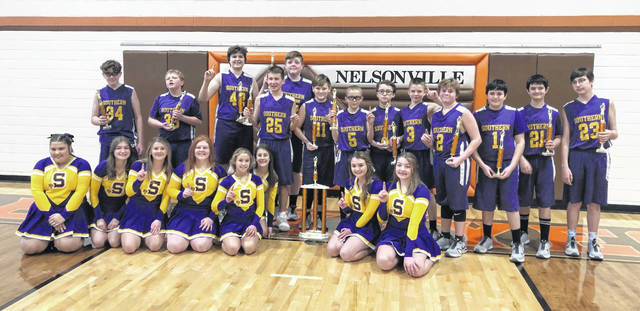 The 7th grade Southern Boys Basketball team earned 1st place in the Nelsonville Regional Tournament on Saturday, Feb. 27, with a 43-34 win over Warren. The Tornadoes were seeded 6th in the tournament. The team, coached by Brian Allen, finished the season with a record of 15-3. Team members are 1 Will Smith; 2 Jake Wickline; 3 Wyatt Smith; 4 Hunter Jarrell; 5 Andre Chandler; 11 Kase Nelson; 21 Nathan Shuster; 23 Anthony Still; 25 Noah Leachman; 33 Austin Bare; 34 Murphy Dunfee; 35 Cole Smith; and 42 Zach Mullins. Pictured are the 7th Grade Southern Tornadoes and Cheerleaders: Back row (left to right) Murphy Dunfee, Austin Bare, Zach Mullins, Noah Leachman, Cole Smith, Kase Nelson, Andre Chandler, Hunter Jarrell, Wyatt Smith, Jake Wickline, Will Smith, Nathan Shuster, and Anthony Still; Front row (left to right): Taylor Tucker, Isabella Harmon, Jorja Lisle, Layla Robson, Ally Anderson, Ava Circle, Adyson Fields, and Hayden Turner.