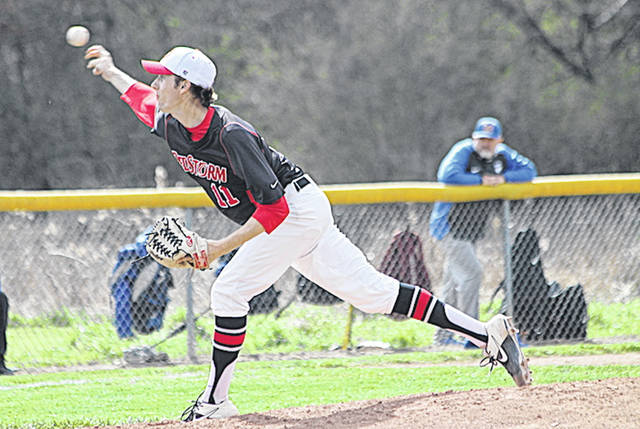 Rio Grande graduate senior Zach Kendall struck out 10 batters in a complete game effort on Friday as the RedStorm snapped a seven-game losing streak with a 6-2 win over Midway University at Bob Evans Field.