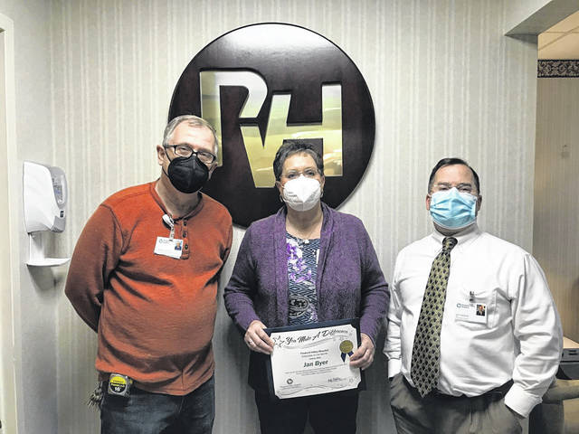 Employee of the Month for January Jan Byer is pictured with Brian Litchfield, director of Plant Operations & Corporate Safety Officer, and Jeff Noblin, FACHE, PVH CEO. (PVH Courtesy)