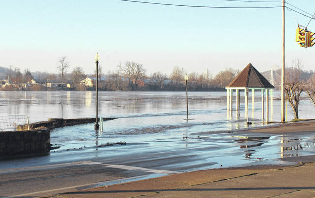 The Ohio River made a brief appearance on East Main Street in Pomeroy at the intersection with Sycamore Street Wednesday morning before the water crested at a level of 46.7 feet.