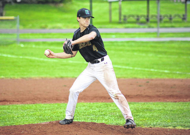 Eastern junior Brayden Smith (4) fires one of his 97 pitches in his no-hitter, during the Eagles' 10-0 victory on Monday in Racine, Ohio.
