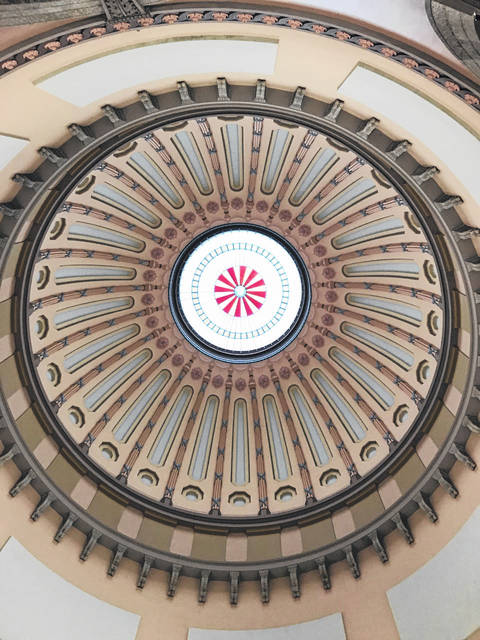 Pictured is an upwards view of the inside of the rotunda at the Ohio Statehouse in Columbus. (Beth Sergent | OVP)