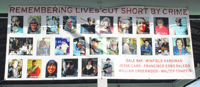 A banner remembering homicide victims from Meigs County was displayed on the Pomeroy Levee.