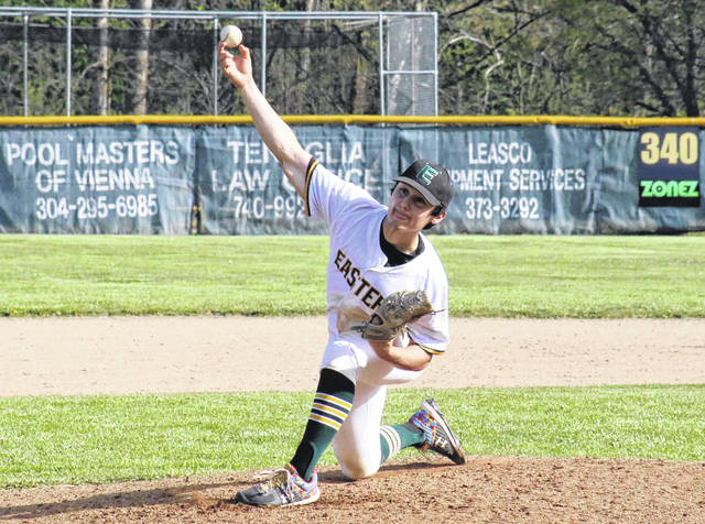 Eastern senior Matthew Blanchard releases a pitch, during the Eagles' April 23 game against Trimble in Tuppers Plains, Ohio.