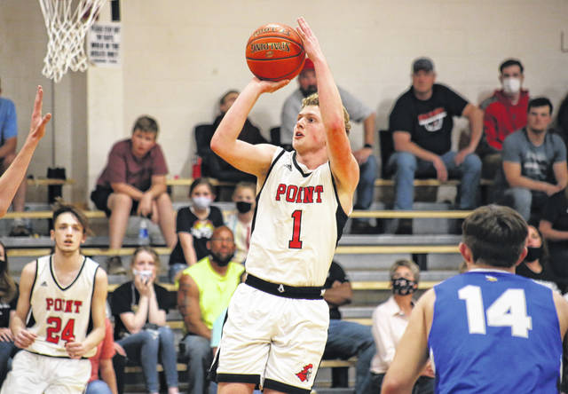 Point Pleasant senior Hunter Bush (1) shoots a jumper from the lane, during the second quarter of the Big Blacks' 74-63 victory on Tuesday in Point Pleasant, W.Va.